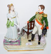 Large Continental porcelain figure group of Napoleon and Josephine on rectangular base, 28cm high