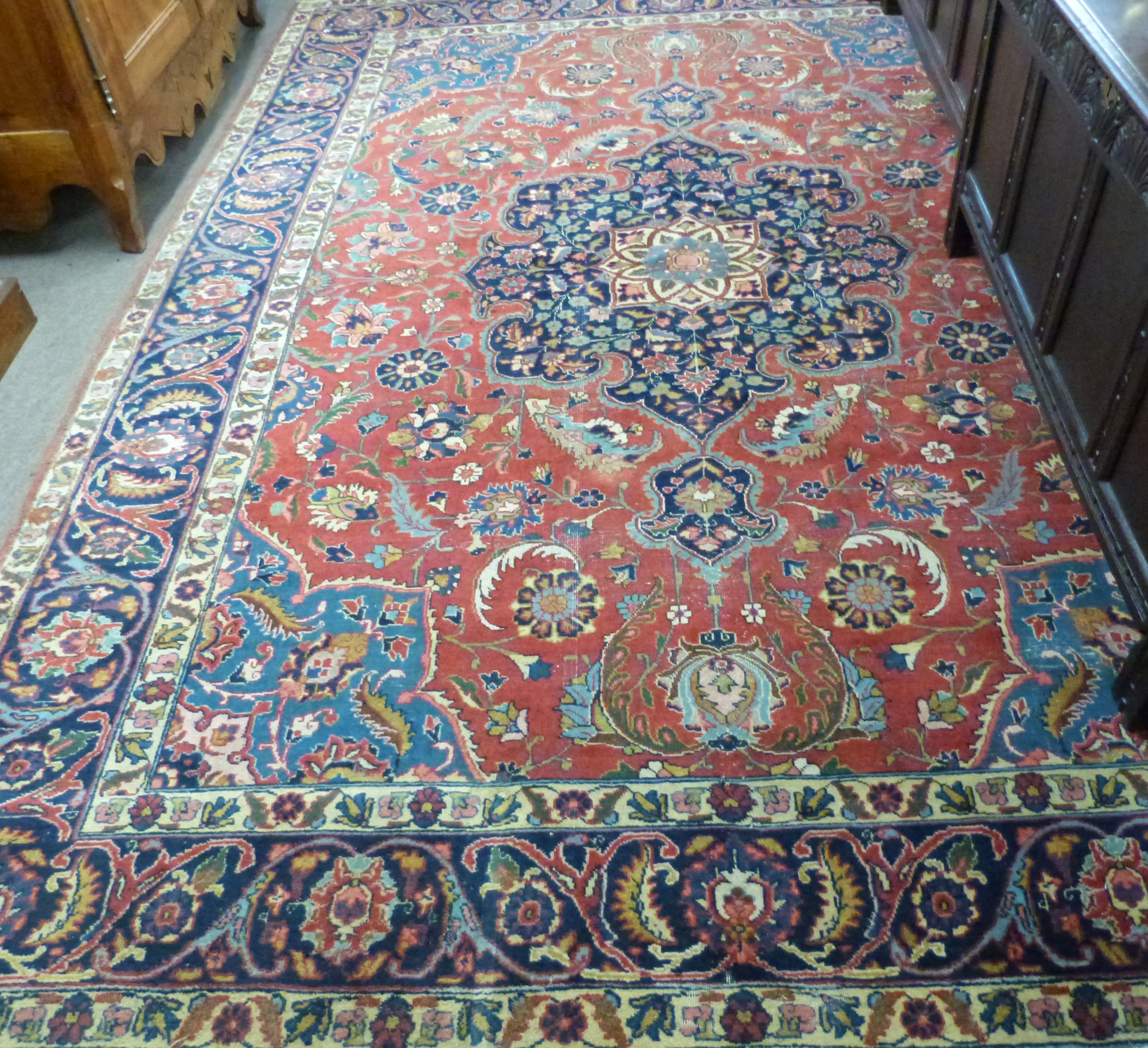 Mid-20th century Palestinian multi-coloured wool rug, circa 1945, red ground, single gulled - Image 2 of 2