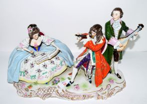 Large Continental porcelain group of musicians on scroll base, 35cm long