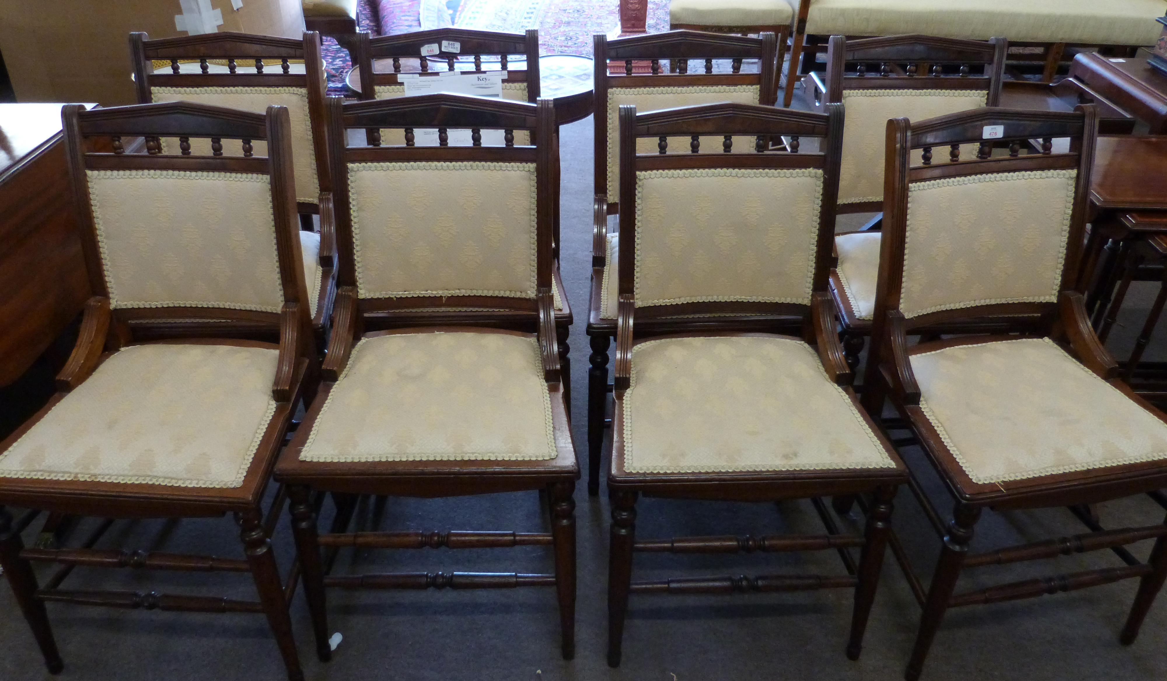 Set of eight upholstered 19th century dining chairs with ring turned legs - Image 2 of 3