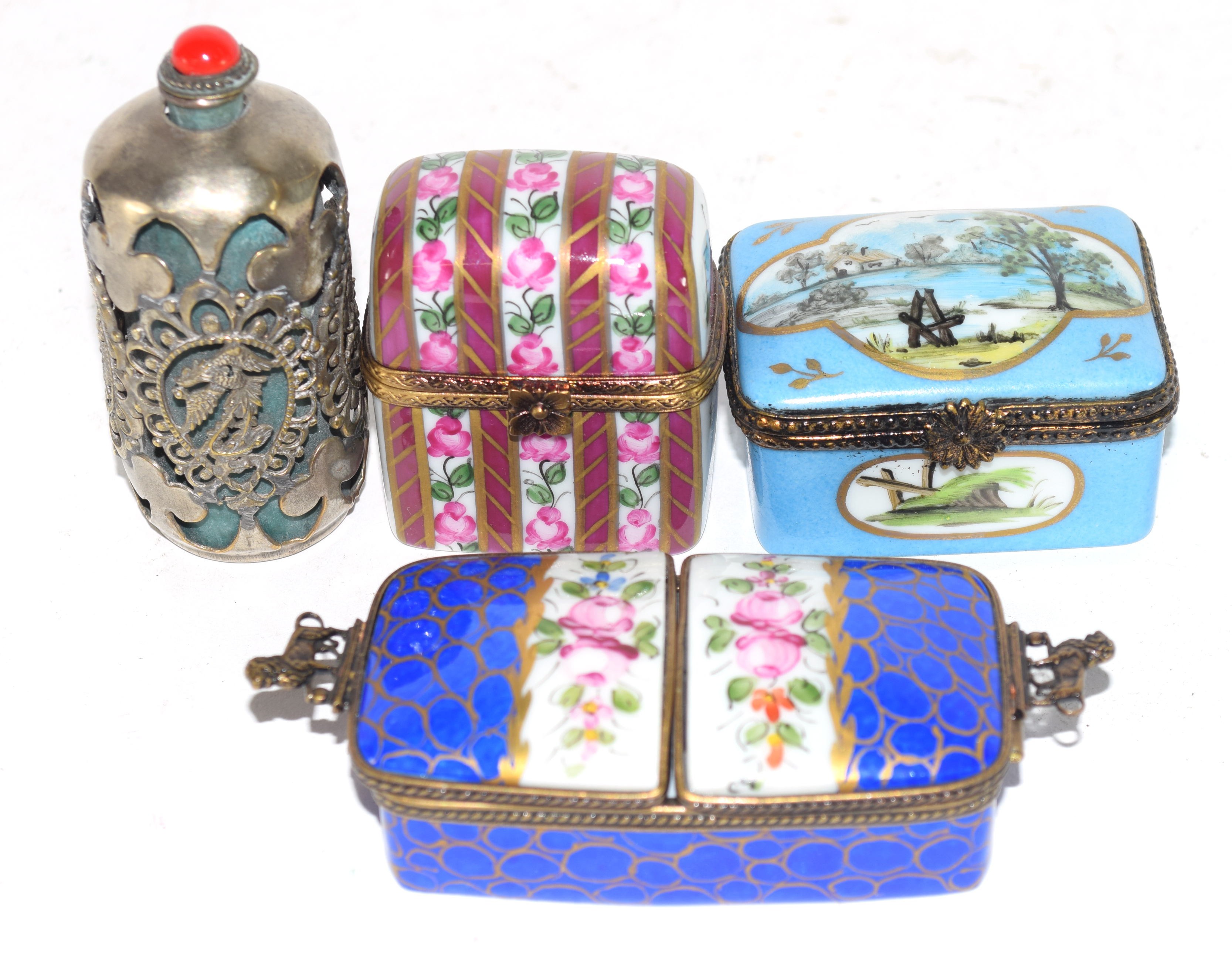 Small plastic bag containing quantity of 19th century enamel boxes by Limoges, (4)