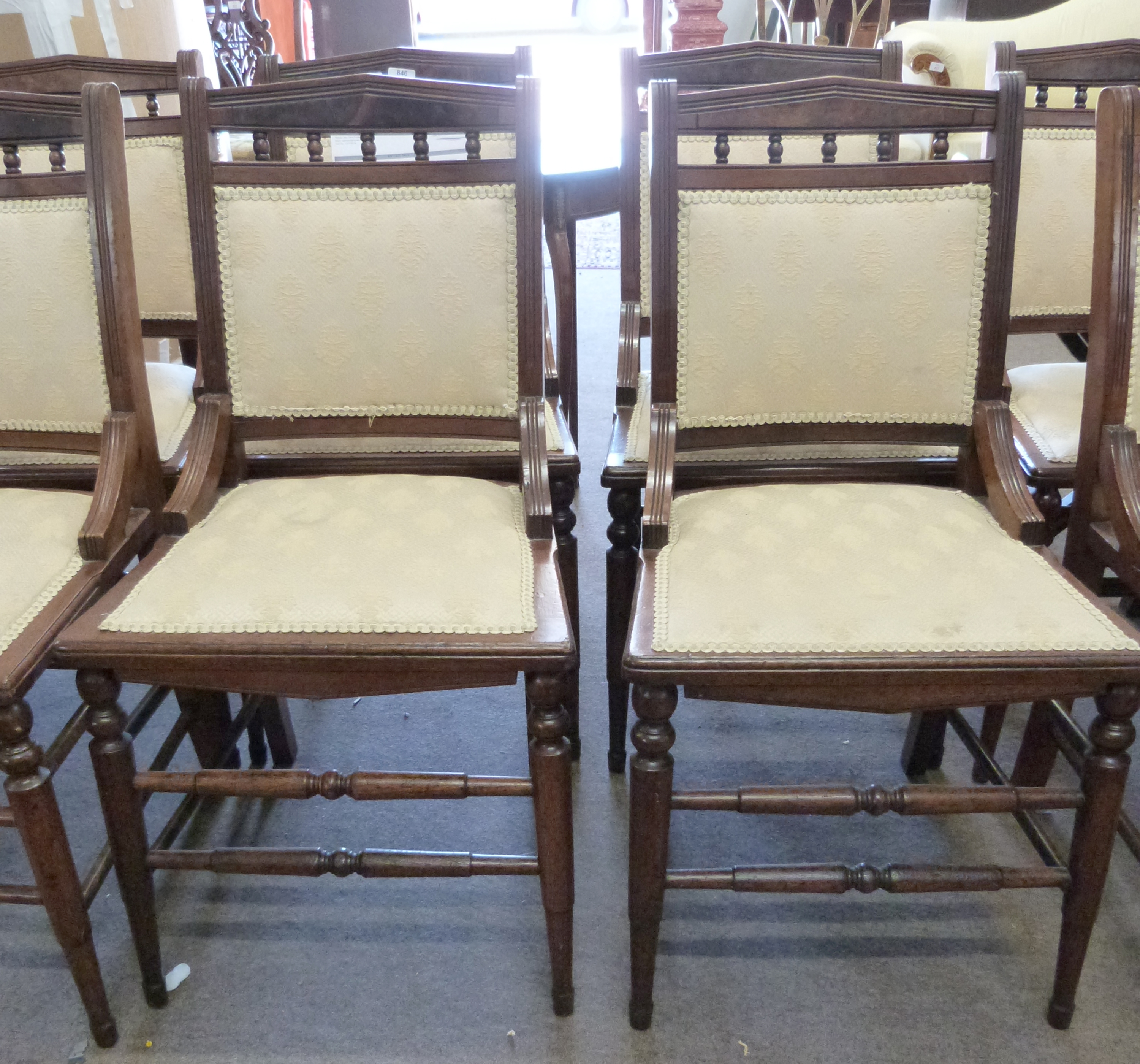 Set of eight upholstered 19th century dining chairs with ring turned legs - Image 3 of 3