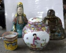 Tin model of a Buddha, a further pottery model of a lady in Sancai type glazes, small quatrelobe cup