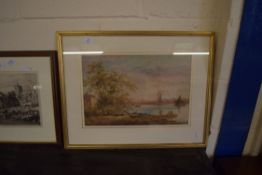 FRAMED WATERCOLOUR DEPICTING A RIVER SCENE, APPROX 29 X 43CM