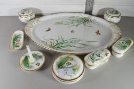 GILT RIMMED HAND PAINTED DRESSING TABLE SET DECORATED WITH BIRDS, BUTTERFLIES AND FLORA