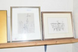 FRAMED PENCIL SKETCH BY WENDY WOOD, 1892-1981, DEPICTING PICADILLY CIRCUS, TOGETHER