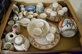 BOX CONTAINING PART COFFEE SETS INCLUDING HAND DECORATED