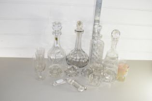 QTY OF CUT AND ENGRAVED GLASS WARES, DECANTERS ETC