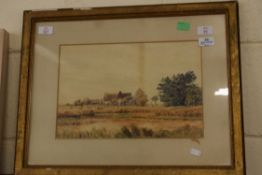 WATERCOLOUR OF A RURAL FARM SCENE SIGNED SKINNER, APPROX 24 X 36CM