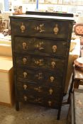 ORIENTAL STYLE DECORATIVE CHEST OF SIX DRAWERS, WIDTH APPROX 61CM
