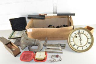 BOX CONTAINING CLOCK PARTS, VINTAGE CAR HORN ETC