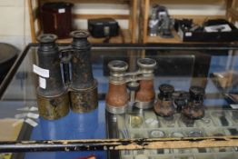 PAIR OF JUMELLE NAVAL BINOCULARS TOGETHER WITH A PAIR OF OPERA GLASSES AND A FURTHER VINTAGE PAIR OF