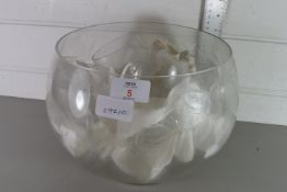 ENGRAVED GLASS PUNCH SET, BOWL DIAM APPROX 26CM