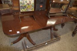 TWIN PEDESTAL MAHOGANY RECTANGULAR DINING TABLE, LENGTH APPROX 200CM