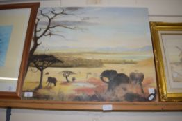 OIL ON CANVAS - AFRICAN VISTA WITH ELEPHANTS BEARING SIGNATURE R HANNAWAY, APPROX 52 X 62CM (