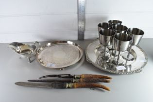 QTY OF METAL WARES INCLUDING GOBLETS, SAUCE BOAT ETC
