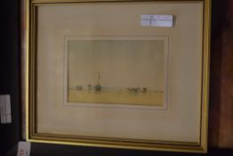 TWO FRAMED PRINTS TOGETHER WITH A MXIED MEDIA ABSTRACT, STILL LIFE OF FRUIT BEARING SIGNATURE E
