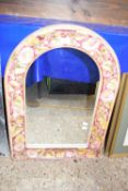 CERAMIC FRAMED ARCHED MIRROR, HEIGHT APPROX 76CM