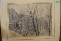 """PENCIL DRAWING BEARING SIGNATURE FRANK L EMANUEL, """"FOUGERES 1929"""", 31 X 41CM"""