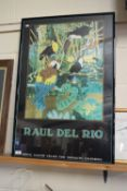 """FRAMED RAUL DEL RIO POSTER, FRAME WIDTH APPROX 63CM TOGETHER WITH A SMALL FRANK JARVIS SKETCH """""""