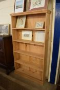 FULL HEIGHT PINE OPEN BOOKCASE, WIDTH APPROX 102CM