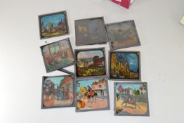 COLLECTION OF MAGIC LANTERN SLIDES DEPICTING COLOURED SCENES OF ORIENTAL AND BRITISH CHARACTERS