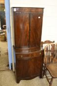 MAHOGANY EFFECT BOW FRONT DRINKS CABINET, WIDTH APPROX 61CM