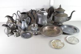 QTY OF PEWTER WARES INCLUDING TEA POTS, JUGS ETC
