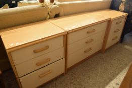 SUITE OF THREE MID-20TH CENTURY BEDROOM CHESTS, LARGEST WIDTH APPROX 79CM