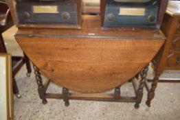 OAK GATE LEG TABLE WITH BARLEY TWIST LEGS, WIDTH APPROX 106CM