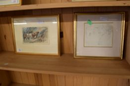 WATERCOLOUR SKETCH OF HEAVY HORSES, APPROX 12 X 19CM, TOGETHER WITH A PENCIL SKETCH OF A HORSE