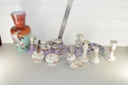 FLORAL DECORATED DRESSING TABLE SET AND OTHER CERAMIC ITEMS