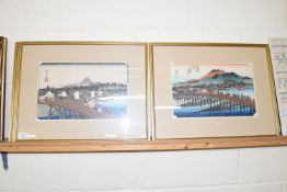 FOUR FRAMED JAPANESE PRINTS, EACH FRAME SIZE APPROX 52CM WIDE