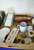 BOX CONTAINING TREEN MOULDED BAROMETER ETC