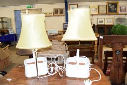 PAIR OF TABLE LAMPS FORMED AS ILLUMINATED FLOWER BASKETS, EACH BASKET APPROX 20 X 16CM