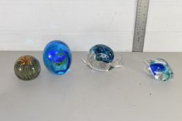 PAPERWEIGHTS INCLUDING WEDGWOOD SNAIL, CAITHNESS FISH ETC