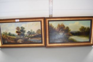 PAIR OF OILS ON BOARD, LANDSCAPES, EACH APPROX 24 X 43CM