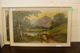 PAIR OF OILS ON CANVAS DEPICTING CATTLE IN SCOTTISH LANDSCAPES, EACH APPROX 30 X 50CM