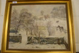 OIL ON CANVAS BEARING SIGNATURE T S LA FONTAINE, WINTER SCENE WITH HORSES, 35 X 44CM