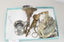 BOX CONTAINING METAL WARES INCLUDING ROTOTHERM TEMPERATURE GAUGE, WICK TRIMMERS, FIGURE OF A