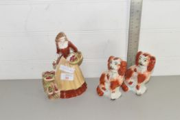 ROYAL WORCESTER STREET SELLERS FIGURE TOGETHER WITH A PAIR OF HAND FINISHED SMALL STAFFORDSHIRE