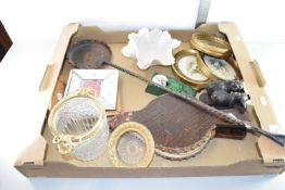 BOX CONTAINING HOUSEHOLD EFFECTS INCLUDING CHESTNUT ROASTER, BELLOWS, FRAMED PRINTS ETC