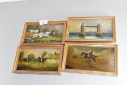 SET OF FOUR SMALL OIL PAINTINGS ON BOARD, THREE HORSE STUDIES PLUS TOWER BRIDGE, ALL SIGNED SALETTI,