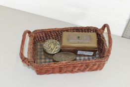 BASKET CONTAINING TWO SMALL IMPRESSED PILL OR SNUFF BOXES, AND TABLE TOP EXAMPLE