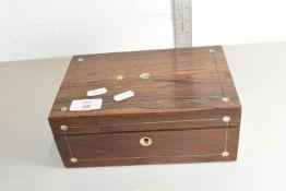 SMALL WOODEN JEWELLERY BOX, 23 X 15CM