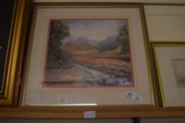"""FRAMED PASTEL SIGNED JO WATERS, TITLED VERSO """"MOUNTAIN STREAM"""", APPROX 30 X 33CM"""