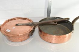 TWO VINTAGE COPPER COOKING PANS