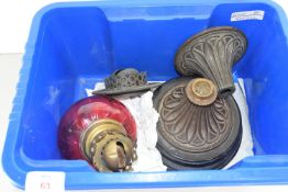 BOX CONTAINING DISASSEMBLED GLASS OIL LAMP
