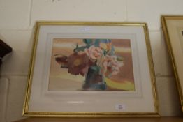 WATERCOLOUR - STILL LIFE, FLOWERS IN A VASE BEARING SIGNATURE ROWE, APPROX 25 X 35CM