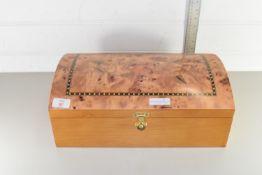DECORATIVE WOODEN JEWELLERY BOX, APPROX 41 X 26CM